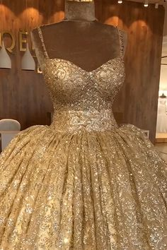 Ball gowns - Spaghetti Straps Gold Beaded Lace Evening Dress Luxury Ball Gown Princess Open Back Prom Dress – Ball gowns Dama Dresses, Quince Dresses, Pageant Dresses, 15 Dresses, Making A Wedding Dress, Classic Wedding Dress, Wedding Lace, Gown Wedding, Mermaid Wedding