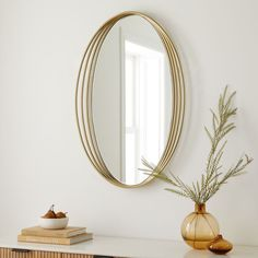 West Elm's slightly recessed and textured Zelda Mirror looks great in a hallway or bathroom, while always making you the center of attention. Mid Century Bathroom, Oversized Furniture, Oval Mirror, Custom Rugs, Art Design, Interior Design, Home Wall Art, Mid Century Design, West Elm