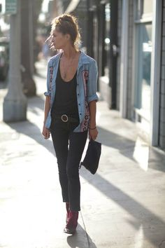 Dark jean, denim button up with perfect belt accessory.