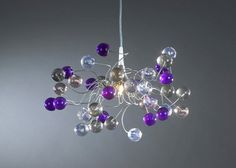 Ceiling lamp - purple gray and clear color bubbles (129.00 USD) by yehudalight