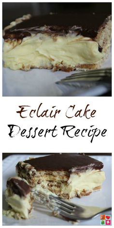 Eclair Cake Dessert Recipe on Having Fun Saving.  This Eclair Cake Dessert recipe is easy to make and sure to soon be your family's new favorite dessert! This Eclair cake is prepped in about 15 minutes.