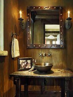 Rustic, Western Bathroom At The 4 Lazy J Ranch.