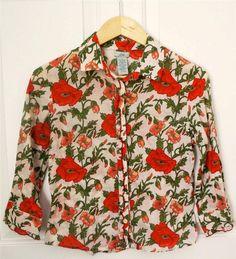 ANTHROPOLOGIE ODILLE sz 4 pink red large poppy print button down l/s blouse EUC #Anthropologie #ButtonDownShirt