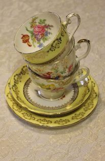 Yellow vintage tea cups - www.thevintagehire.com