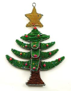 African Beaded Christmas tree ornament - for Donna