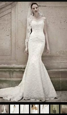 Oleg Cassini Sweetheart Beaded Lace White Trumpet Gown Size 10