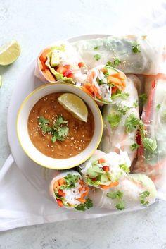 Thai Summer Rolls with Peanut Dipping Sauce - vegetarian, plant based, vegan, gluten free, refined sugar free