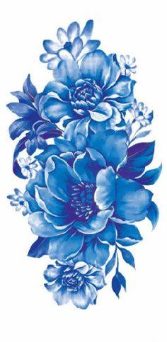 Blue Watercolor Vintage Temporary Tattoo Arm Sleeve - MyBodiArt.com