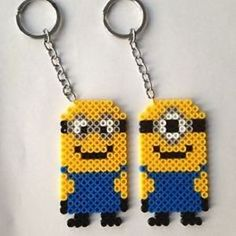 Minion-one-eye-Perler-Bead-Choose-from-keychain-or-magnet