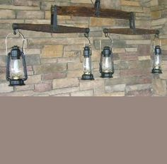 Awesome re-used farm equipment for lighting.
