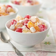 Easter Bunnys #Vegan Ambrosia Salad recipe. A vibrant fun, sweet springtime dish perfect for any #Easter meal or brunch! - Foodista.com