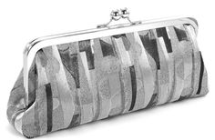 Metallic Silver Evening Bag Clutch  Gray Black Formal by BagBoy, $55.00