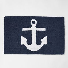 Shop anchor bath mat from west elm. Find a wide selection of furniture and decor options that will suit your tastes, including a variety of anchor bath mat. Bathroom Rugs, Bath Rugs, Bathroom Furniture, Bathroom Ideas, Master Bathroom, Boy Bathroom, Downstairs Bathroom, White Bathroom, Bathroom Interior