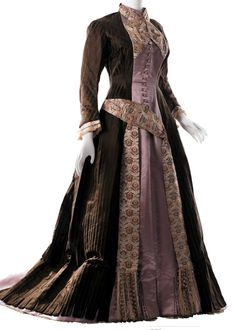 1879 silk visiting dress.