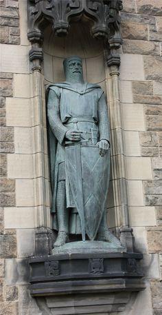 Edinburgh Castle entrance; William Wallace statue at Edinburgh, Scotland