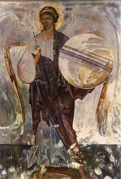 L'archange Gabriel. Fresque de 1'eglise de I'Assomption de Volotove. Seconde moitie du XlVe s.