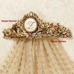 Designer Hand Crafted ACANTHUS leaf Monogrammed Golden bed Crown Canopy Decor