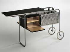 Mueble bar en acero y madera con ruedas AR1 by MisuraEmme diseño Alfred Roth
