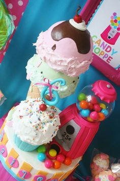 Sweet Shoppe Cake ~ Wow an ice cream cone (double scooped), a cupcake, and a gumball machine cake all in one cake... love!
