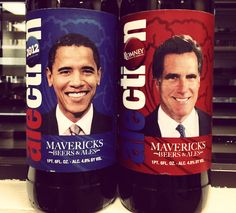 The two contenders in the 2012 Presidential Alection at the Half Moon Bay Brewing Company: Obama Ale vs. Romney Ale. Who will win?