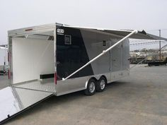 The cargo trailer to camper conversion subculture is beginning to take root for a niche part of the travel trailer market. The trailer technology solves all of your bedding and camping issues. Enclosed Trailer Camper Conversion, Enclosed Car Trailer, Trailer Awning, Cargo Trailer Conversion, Toy Hauler Trailers, Cargo Trailers, Utility Trailer, Camper Trailers, Travel Trailers
