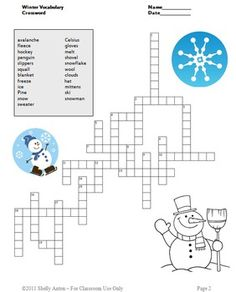 FREE Winter Crossword Puzzle: Please enjoy this FREE winter vocabulary word crossword worksheet in appreciation for all the wonderful teachers who go the extra mile to ensure each and every students feels SUCCESS!  https://www.teacherspayteachers.com/Product/Winter-Crossword-Puzzle-Free-Download-172571