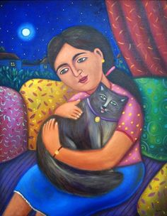 """""""Esperanza y Tomás"""" by Esaú Andrade.  This is one of the paintings I bought myself for Christmas in 2015.  It is just mesmerizing, and the grey cat reminds me of my little Fiona."""