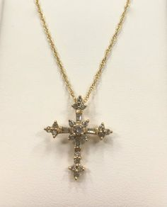 14 Karat Yellow Gold Diamond Cross Necklace - Repair Palace