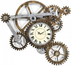 Steampunk wall clock. This would be great for an industrial decor.  #steampunk #wallclock #industrial