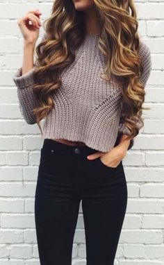 crop sweater and jeans 2017