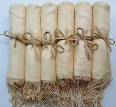 Set of 6 Ivory Shawls, Pashmina, Scarf, Wedding Favor, Bridal Shower Gift, Bridesmaids Gift, Wraps, Welcome Bags, Wedding Keepsakes. $57.00, via Etsy.