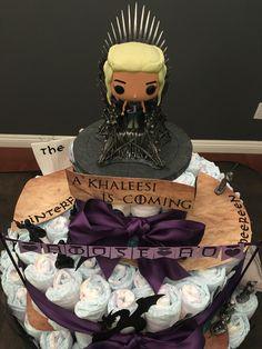 Game of Thrones Diaper Cake! King's Landing, Khaleesi Funko Pop on the throne.
