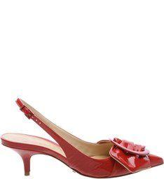 Kitten Heel Maxi Bow Tango Red