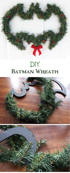 DIY Batman Wreath (and other geeky holiday decor) - Our Nerd Home Diy Batman, Batman Crafts, Holiday Fun, Christmas Holidays, Christmas Wreaths, Christmas Decorations, Batman Christmas Tree, Nerd Crafts, Holiday Crafts