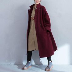 Wine Red Pocket Woolen Jacket
