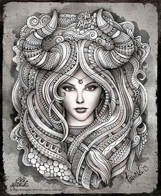Zodiac ~ Taurus by Olka Kostenko on Behance --> For the top adult coloring books and writing utensils including gel pens, colored pencils, watercolors and drawing markers, go to our website at http://ColoringToolkit.com. Color... Relax... Chill.