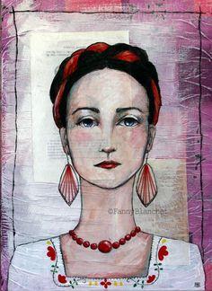 """""""Angelica"""" by Fanny Blanchet. Acrylique, fil de coton et collages sur toile (46 x 33 cm) Plus de photos ici :http://nynille.canalblog.com/archives/2013/11/13/28422482.html  ***Mes images ne sont pas libres de droit. Merci de ne pas les utiliser sans mon autorisation !***"""
