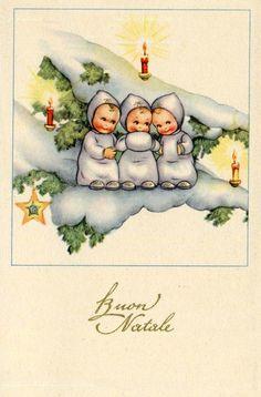 Vintage Italian Christmas Postcard Complete set of 6 postcards PC Circa 1930 Italy
