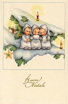 Vintage Italian Christmas Postcard Complete set of 6 postcards PC Circa 1930 Italy