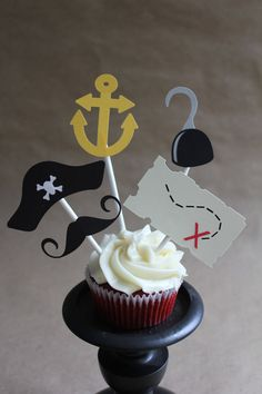Pirate Cupcake Toppers by SweetCollieDesigns on Etsy, $10.00
