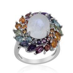 Liquidation Channel: Sri Lankan Rainbow Moonstone and Multi-Gemstone Ring in Platinum Overlay Sterling Silver (Nickel Free)