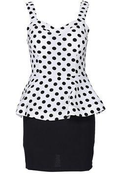 ROMWE | ROMWE Polka Dot Print White Sleeveless Bandeau Dress, The Latest Street Fashion