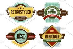 Retro Badges/Insignias Set by Vecster on @creativemarket
