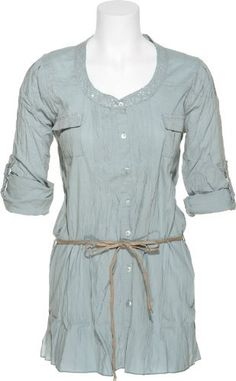 ROMEO & JULIET COUTURE Sequin & Crinkled Buttoned Shirt [RJ25536] Romeo & Juliet Couture. $38.99