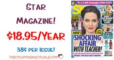 What a deal! Keep up on all the gossip and entertainment news! Grab Star Magazine for only $18.95 year! That is only $0.36 per issue!  Click the link below to get all of the details ► http://www.thecouponingcouple.com/star-magazine/ #Coupons #Couponing #CouponCommunity  Visit us at http://www.thecouponingcouple.com for more great posts!