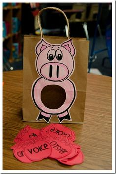 "Oi/Oy practice...feed the pig the words with the ""oi"" sound and then write the words they fed him."