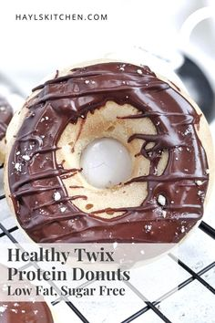 Realistic Twix Protein Donuts with vanilla and peanut butter caramel donut layers, chocolate glaze, and actual shortbread too! Healthy copycat Twix donuts use protein powder and are sugar free and low fat too. High Protein Desserts, Protein Donuts, Chocolate Topping, Chocolate Glaze, Shortbread Biscuits, Peanut Butter Protein, Vanilla Protein Powder, Baked Donuts, Coconut Flour