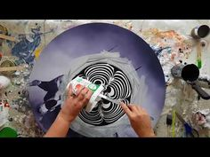 Acrylic Pour Through a Colander with Ultra Violet Acrylic Paint - YouTube