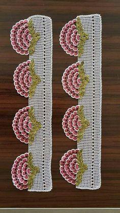 Newest Towel Edge Crochet Needlework Models Crochet Buttons, Crochet Doilies, Crochet Lace, Crochet Borders, Filet Crochet, Baby Knitting Patterns, Crochet Patterns, Pinterest Crochet, Viking Tattoo Design