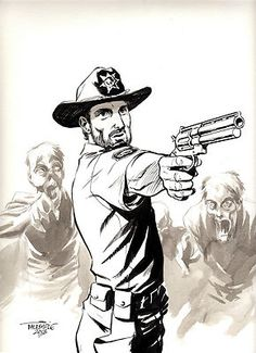 Rick Grimes The Walking Dead 1 CGC Original Art by Scott Dalrymple | eBay